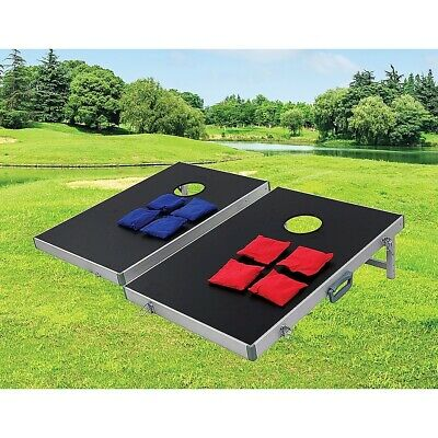 Bean Bag Toss Cornhole Game Set Aluminium Frame Portable Design W/ Carrying Case