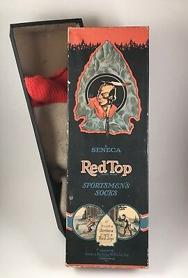 Vintage Seneca Red Top Hunting Advertising Box Indian Head Fishing Trapping NR