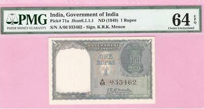 Repubic India One Rs First Issue K.R.K. Menon Pick 71a (1949) PMG Graded 64 EPQ