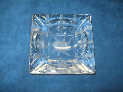 Vintage Cut Etched Clear Glass ASHTRAY...Beautifully Designed