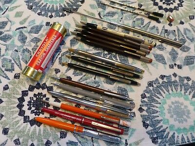 Lot of 18 Vintage Pens Pencils Cross Papermate Quill Pentel Auto Point Emphasis