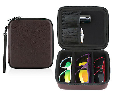 3 Pair Sunglasses Glasses Zippered Travel Storage Organizer 3 Compartment Case