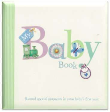 NEW My Baby Record Book w Train & Butterfly Hardcover Free Shipping