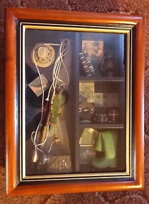 Collection Of Miniature Fishing / Anglers Tackle In Wooden Display Case