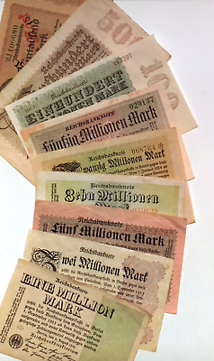 1923 Germany Hyper Inflation Full set of 1 Billion to 1 Million Notes SHORT
