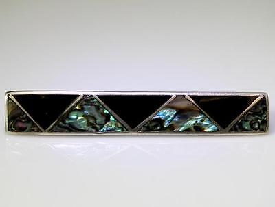 """Vintage Mexico Sterling Silver Inlaid Onyx & Abalone Tie Clasp 2.5"""" – 8634"""
