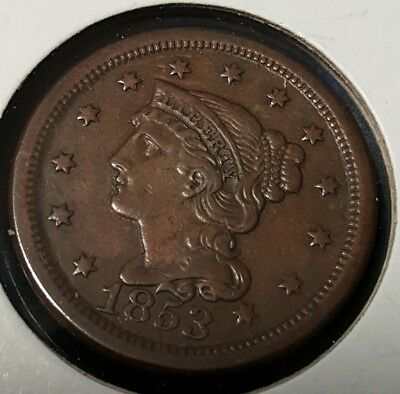 Original 1853 U.S. Large Cent High Grade BRAIDED HAIR CENTS 1853 1C