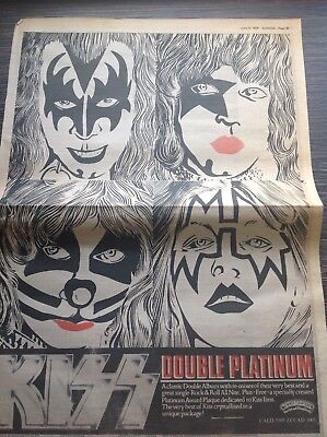 Kiss  - 1 x A3 PAGE UK MUSIC PAPER ARTICLE/ADVERT