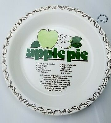 "Vintage Collectible 10""  Apple Pie Plate With Recipe Dish"