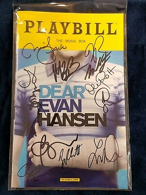 Dear Evan Hansen Signed Broadway Playbill Signed By Ben Platt And Entire Cast