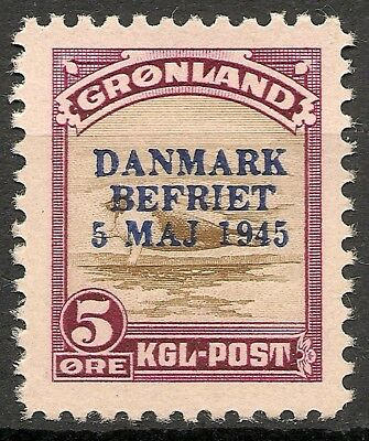 "GREENLAND 1945 ""Danmark Befriet"" American Issue 5 ore MNH VF Facit 20"