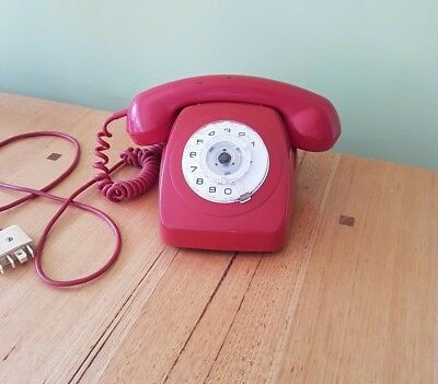 Red Vintage Telephone 1960s Rotary Dial