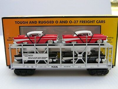 O Scale - MTH Rail King - MTH Auto Transport Auto Carrier w/ Ertl '57 Chevy's!