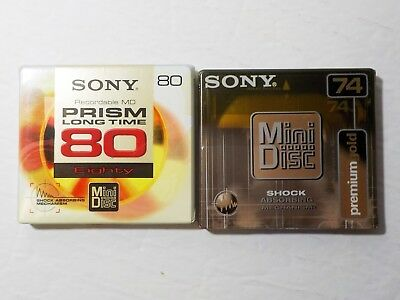 2 Recordable MD Mini Disc one Sony 80 Minutes and one Premium Gold 74 Minutes