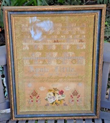 MID 19TH CENTURY Flowers Bible quote SAMPLER BY Annie Little AGED 12 ~ 1856
