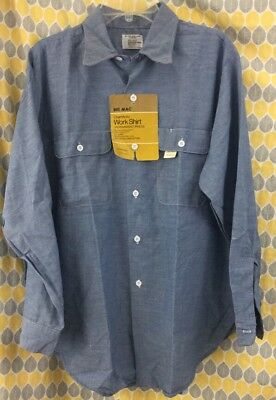 NOS Vintage Big Mac Chambray Shirt Dead stock 70's Workwear 100% Cotton Large