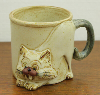 CAT Coffee Tea Mug Cup VINTAGE - Figural Cat with Tail Handle - Giftcraft Japan