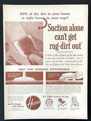 1953 Vintage Print Ad HOOVER Vacuum Home Cleaning Illustration Red Tint Image