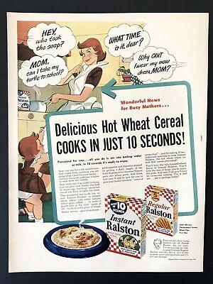 1953 Vintage Print Ad INSTANT RALSTON Hot Cereal Mom Cooking Illustration 50's