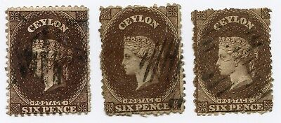 Ceylon Sc#53d and 53e 6p Chocolate brown watermark 1b used color shade varieties
