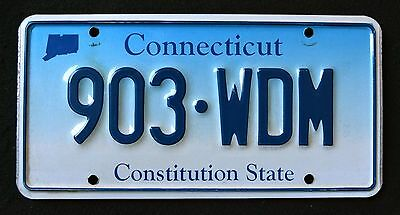 """CONNECTICUT """" CONSTITUTION STATE - BLUE - 903 WDM """" CT Graphic License Plate"""