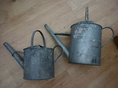 Vintage Galvanised Watering Cans x 2 & Bucket Bundle - Collection