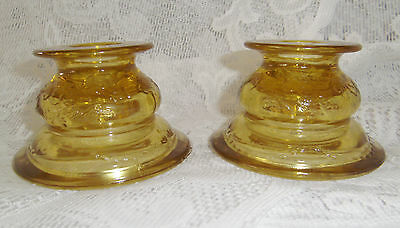 Vintage Indiana Glass Amber Recollection/madrid Single Light Candlestick Pair