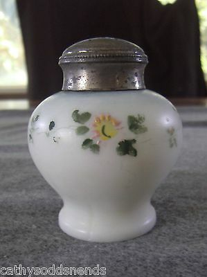 Scarce Mt. Washington Mold Blown Footed Spheroid Hand Painted Floral Salt Shaker