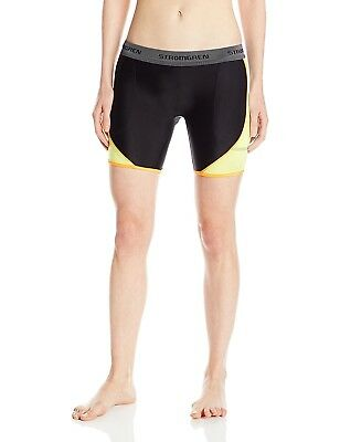 (Large, Black/Optic Yellow) - Cramer Women's Crossover Softball Sliding Shorts