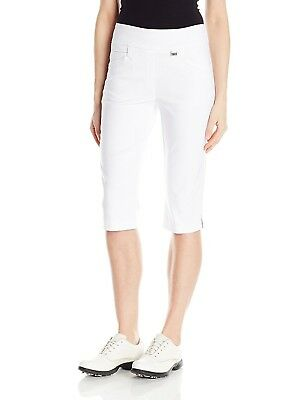 (Size 4, White) - EP Pro Golf Women's Bi-Stretch 70cm Pull On Pedal Pusher