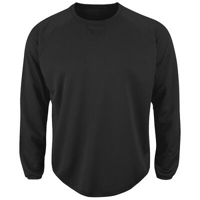 (Large, Black) - Majestic Adult Long Sleeve Fleece Pull-Over. Majestic Athletic