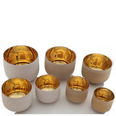 """Chakra Tuned Set of 7 Alchemy Solid Gold Frosted Crystal Singing Bowls 8""""-12"""""""