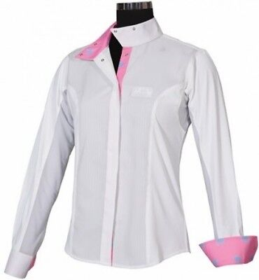 (36, White Pink) - Equine Couture Ladies Whales Show Shirt. Free Delivery