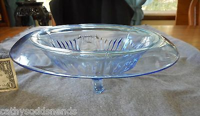 Paden City Light Blue #221 Maya Rolled Rim Centerpiece/console Footed Bowl
