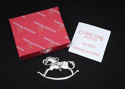 Reed & Barton Sterling Silver Christmas Ornament Classic Toys Rocking Horse 1991