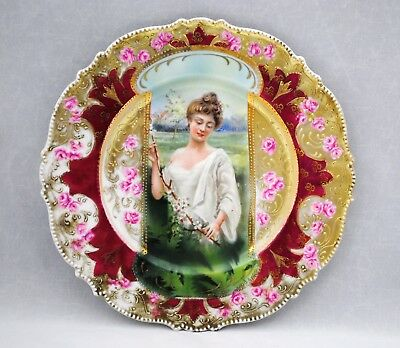 RS Prussia Keyhole Portrait of Woman Spring Plate
