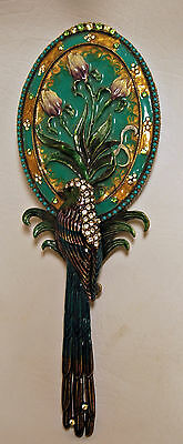 Bejeweled Enamel Swarovski Crystal Two's Company Hand Held Parrot Bird Mirror