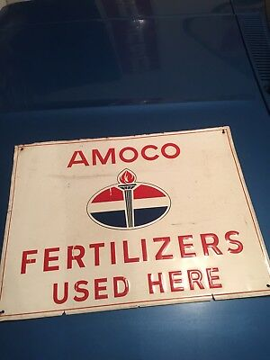 "Vintage 1971 Amoco Fertilizer Farm Gas Oil 16"" Embossed Metal Sign. Sign. Farm."