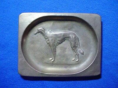 Vintage stamped metal tray of Borzoi Russian Wolfhound Coursing Sighthound