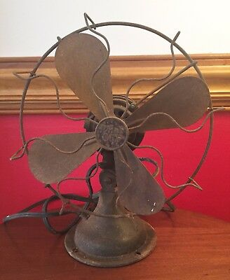 "ANTIQUE Art Deco 1925 POLAR CUB ELECTRIC FAN Gilbert Co 10.5"" Runs AC/DC TYPE H"