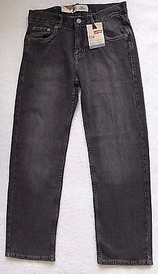 Levi's 550 Relaxed Fit Jeans Boys STRETCH Black Gray Denim Size 14 Size 27x27