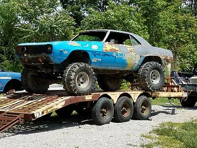 1969 Chevrolet Camaro 4 WD RACER and  HD 3 AXLE BUMPER PULL TRAILER 1969 CAMARO VINTAGE 4WD RACER ON 3 AXLE TRAILER CHEVROLET K5 MEGA TRUCK MUD SAND