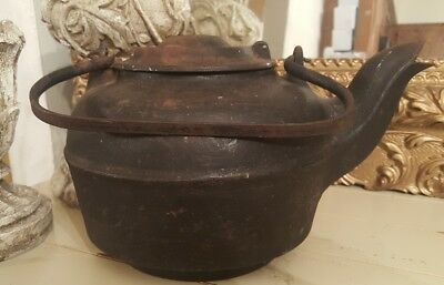 ANTIQUE LARGE CAST IRON KETTLE SPOUT w/handle  BALTIMORE MD #7 OLD