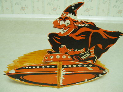 Vintage Halloween Witch Flying Saucer Decoration Hang or Tabletop U.S.A.