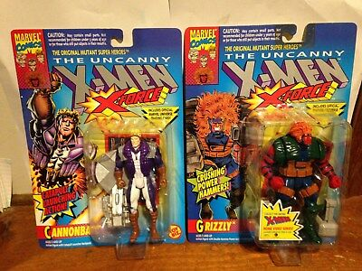 Lot of 2 The Uncanny X-Men, X-Force Cannonball & Grizzly Toy-Biz Marvel MOC