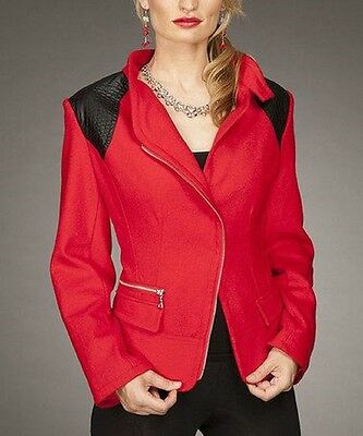 Firmiana Designer Red & Black Leather Shoulders Wool Blend Blazer