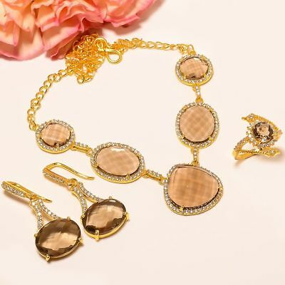 """Smokey Topaz, White Cz Gold Plated Handmade Necklace 17.99""""& Earring & Ring (3)"""