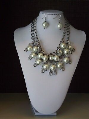A Material Girl - Two Strand Statement Necklace and Earrings Set