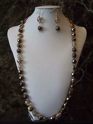 Burgundy Copper Rose: Long Strand Opera Length Necklace and Earrings Set