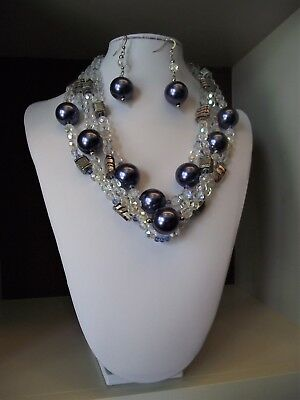 Aurora Crystal Purple: Four Strand Statement Necklace and Statement Earrings Set